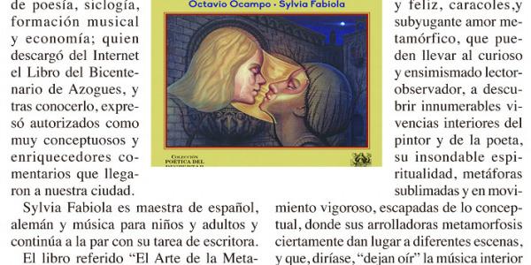 """Artículo del Dr. Bolivar Delgado Arce sobre el libro """"El arte de la metamorfosis"""" publicado en la Editorial Sirena de los Vientos"""